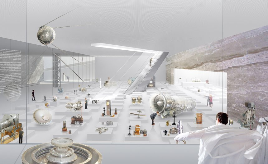 "A centre for the Polytechnic Museum and Moscow State University introduces a new kind of public space into the city. Like a living room of research, the Museum and Education Centre wraps around a square, stopping on different ""knowledge platforms"" that can support more specialized functions, or simply focused presentations of investigations from around the world. At the end is an overlook; a panorama of the university and the city."